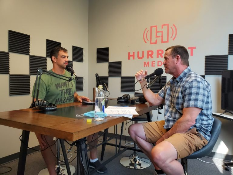 Episode #40 – L-R; Aaron Cerrone and Doug Fletcher at Parkville Media studios………..
